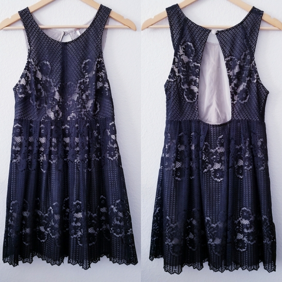 Free People Dresses & Skirts - Free People   Black Rocco Lace Mini Dress Cut Out